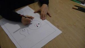 Atelier dessin surréaliste animé par Stéphane Kiehl au Square des artistes, le 8 décembre 2013.
