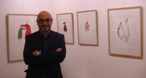 Serge Bloch lors du vernissage de son exposition Tête à tête au Square des artistes le 31 janvier 2015